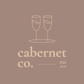 Weinbar-logo-vorlage mit minimalem weinglas