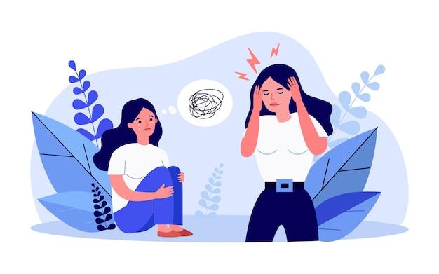 Weinende karikaturfrau, die auf dem boden sitzt und knie umarmt. gestresstes mädchen, das flache vektorillustration des kopfes berührt. psychologie, depression, konzept der psychischen gesundheit für banner, website-design oder landing-webseite