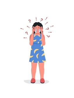 Weinende teenager-mädchen flache farbe detaillierten charakter