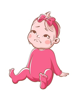 Weinendes baby. zeichentrickfigur für kleinkinder. kleines trauriges mädchensitzen. kind in der rosafarbenen vektorillustration lokalisiert auf weißem hintergrund