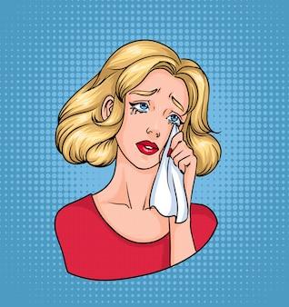 Weinendes frauengesicht. traurige blondine, die tränen mit taschentuch abwischt. bunte comicillustration im pop-art-stil.