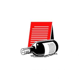 Weinflasche illustration logo