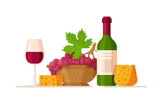 Weinflasche mit glas und traubenillustration grape