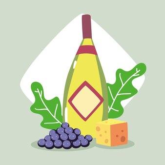 Weinflasche mit weintrauben und käsestück