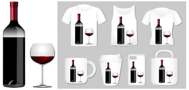 Weinflasche und glas auf verschiedenen produktvorlagen