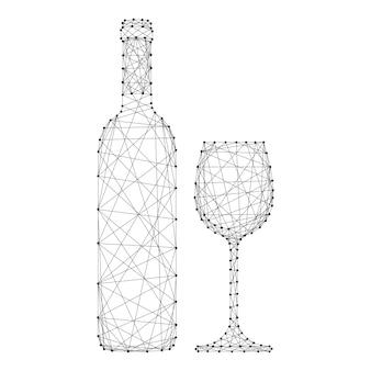 Weinflasche und glas von den abstrakten futuristischen polygonalen schwarzen linien und von den punkten.