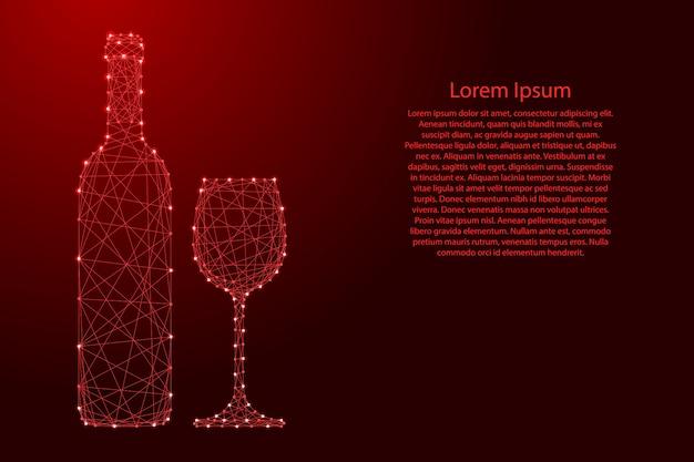 Weinflasche und glas von den futuristischen polygonalen roten linien und von den glühenden sternen für fahne, plakat, grußkarte.