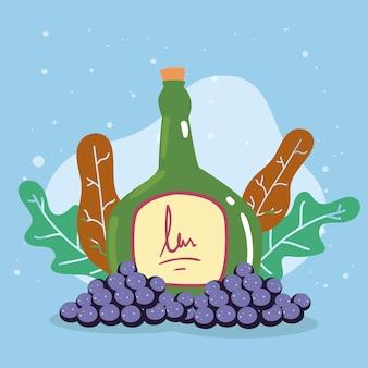Weinflasche und trauben cluster