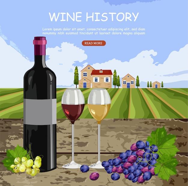 Weingeschichtskarte mit vollen gläsern und flasche