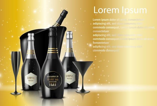 Weingläser mit champagnern auf funkelndem hintergrund