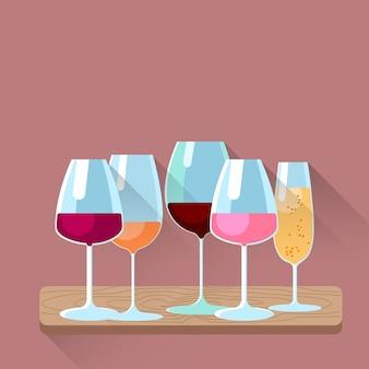 Weingläser stellten unterschiedliche alkohol-französische getränk-sammlung ein
