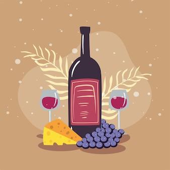 Weingläser und flaschenwein mit traubenbeeren
