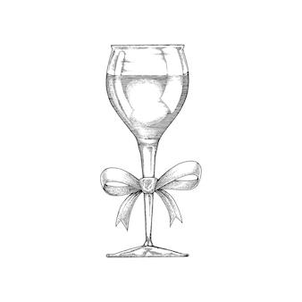 Weinglas handzeichnung vintage mit band schwarz und weiß linie
