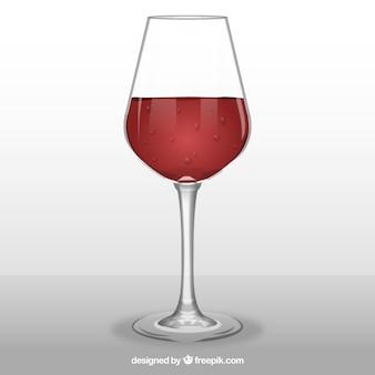 Weinglas im realistischen stil