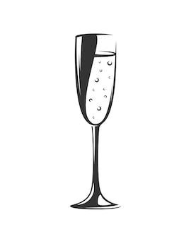 Weinglas lokalisiert auf weißem hintergrund. elemente.