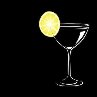 Weinglas mit cocktail und zitrone auf schwarzem hintergrund