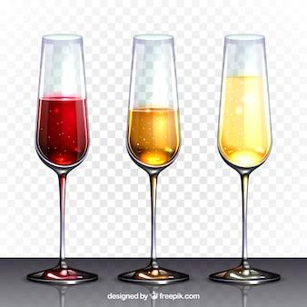 Weinglas-sammlung in realistischem stil