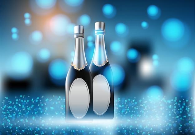 Weinglas- und champagnerweinflaschen