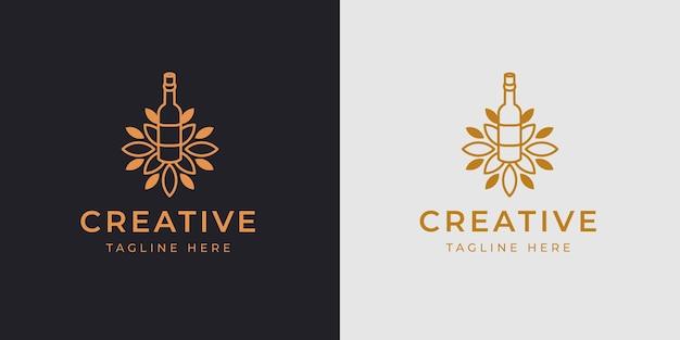 Weingut flasche logo design vorlage vektor illustration weingut flasche mit blättern vintage moderne icon line design
