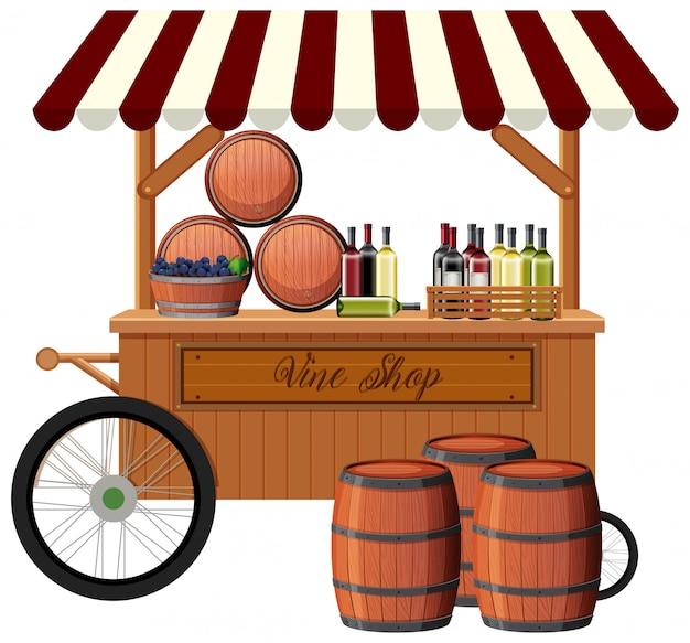 Weinhandlung auf weißem hintergrund