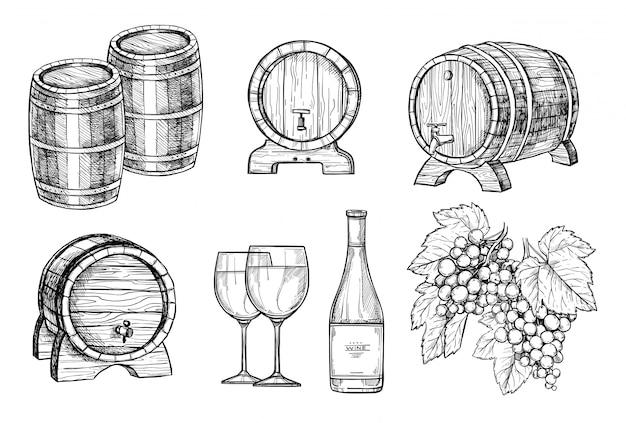 Weinherstellung hand gezeichneten satz