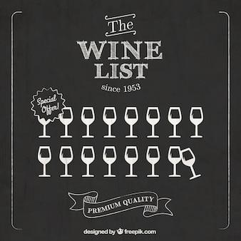 Weinkarte auf tafel