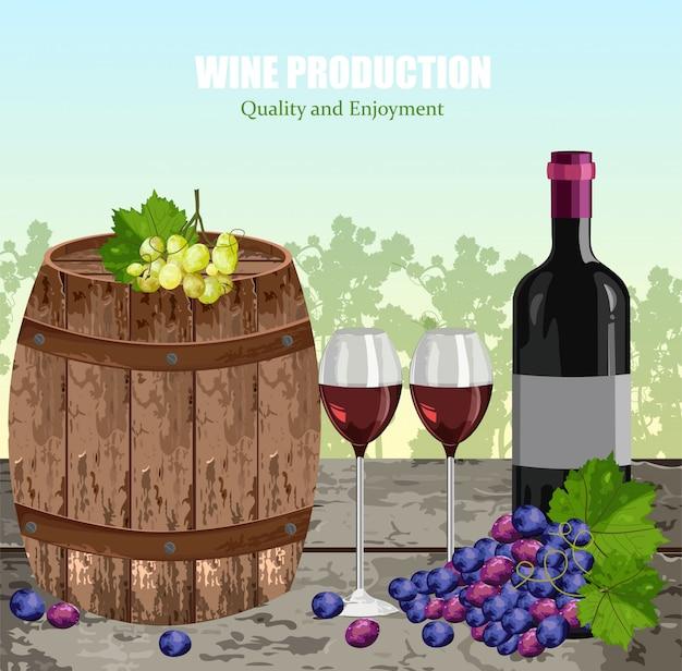 Weinkarte mit vollen gläsern und flasche