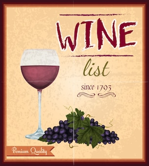 Weinkarte retro-poster