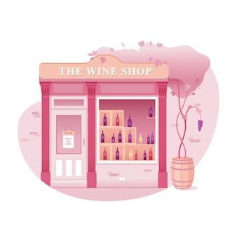 Weinladenillustration, karikaturzeichnung des alkoholgeschäfts. kaufen sie rot-, weiß-, rosen- und champagnerwein. gebäudefassade, außenansicht von vorne