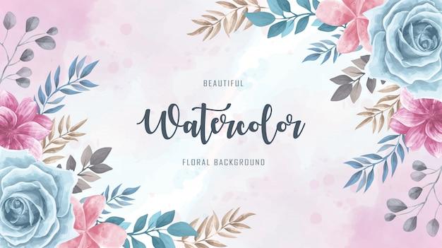 Weinlese-aquarell-blumenblumen-hintergrund