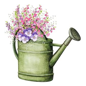 Weinlese-aquarell-wasserdose voll von blühenden zweigen und stiefmütterchenblumen