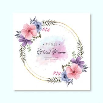 Weinlese-aquarellblumenblumenrahmen