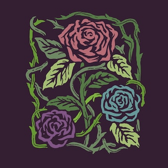 Weinlese-art färbt rosen-blumen-illustration backround