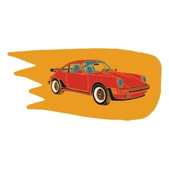 Weinlese-auto-illustrationshand gezeichnet in rote und orange farbe mit flamme