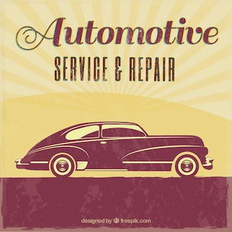 Weinlese-auto-reparatur-retro plakat