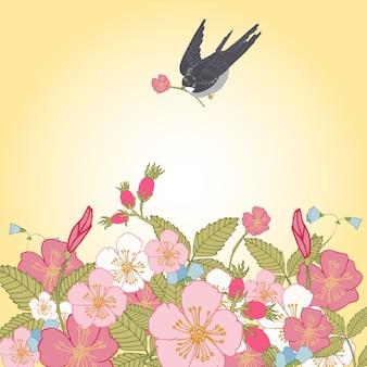 Weinlese blüht hintergrund mit vogel