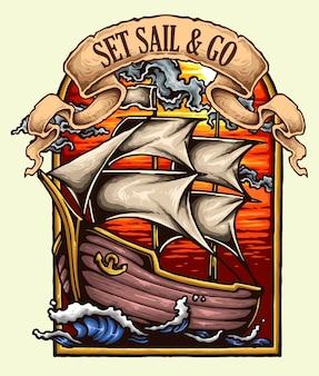 Weinlese-Boots-Segeln auf den Ozean