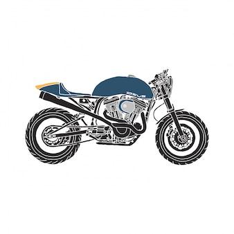 Weinlese-café-rennläufer-blaues motorrad-illustrations-set