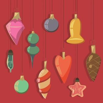 Weinlese-christbaumkugeln und glühlampen des unterschiedlichen formvektorkarikatursatzes.
