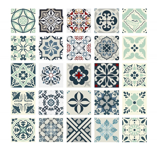 Weinlese deckt portugiesisches musterantikes nahtloses design in der vektorillustration mit ziegeln