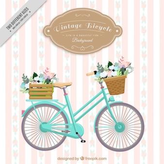 Weinlese-fahrrad gestreiften hintergrund