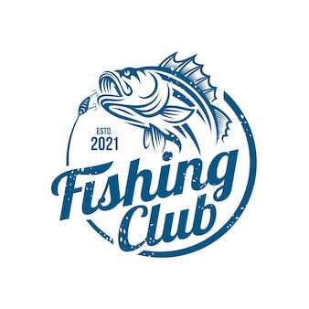 Weinlese-fischende logo-schablone lokalisiert auf weiß
