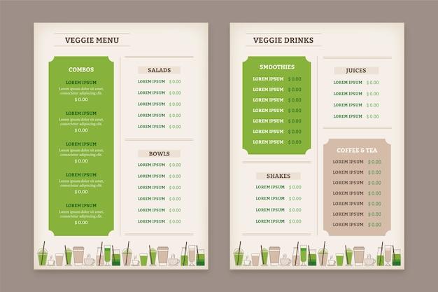 Weinlese-gesundes lebensmittelrestaurantmenüschablone