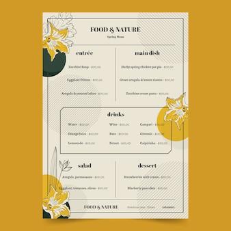 Weinlese-gesundes nahrungsmittelrestaurantmenüschablone