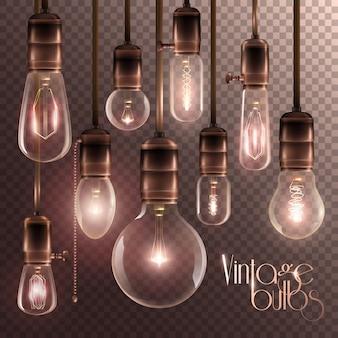 Weinlese-glühende glühlampen-transparenter satz