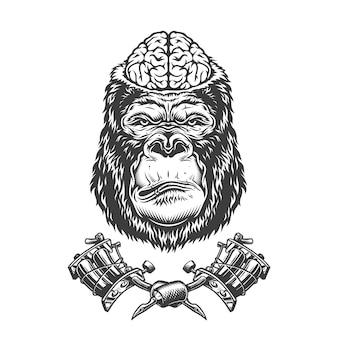 Weinlese-gorillakopf mit menschlichem gehirn