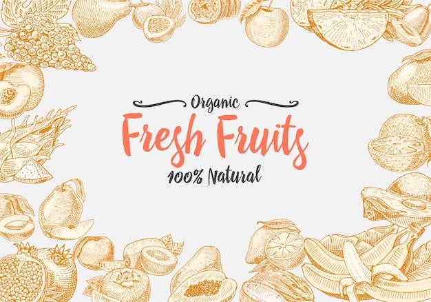 Weinlese, handgezeichneter frischer obsthintergrund, sommerpflanzen, vegetarische und organische zitrusfrüchte und andere, graviert. ananas, zitrone, papaya, pitaya, maracuya und bananen. Premium Vektoren