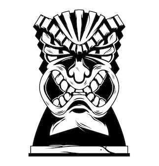 Weinlese hawaii stammes wütende tiki-maske monochrome illustration.