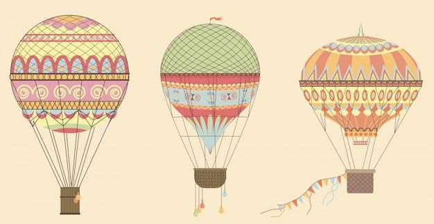 Weinlese-heißluft-ballone im himmel