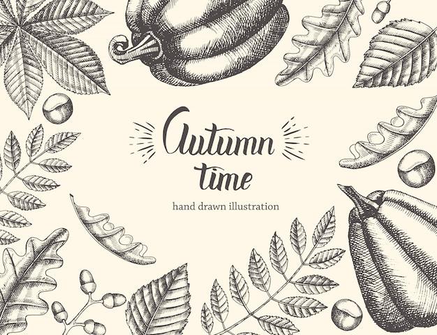 Weinlese-herbsthintergrund mit hand gezeichneten blättern und kürbis. handgeschriebenes modisches zitat autumn time